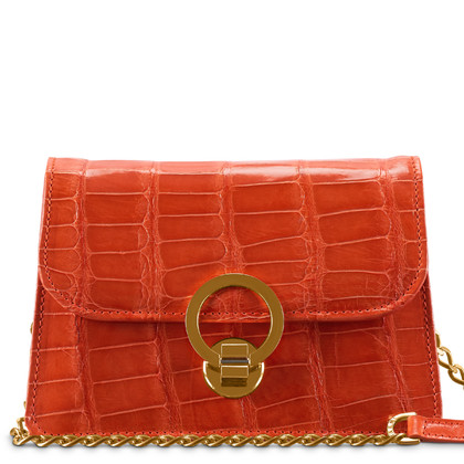 Maeni Avidia tangerine crocodile leather clutch,  chain gold hardware.