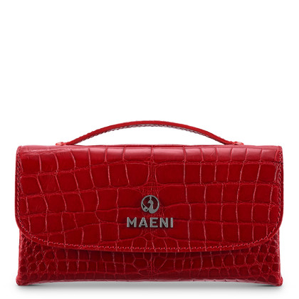 Maeni Asteria tiny pochette in red shiny extra crocodile